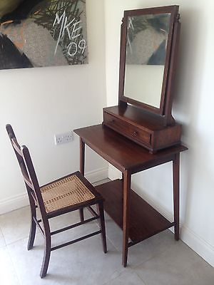 Antique Georgian Mahogany Swing Mirror Drawers Dressing Table + Chair Cane Seat