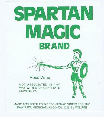 Spartan Magic Michigan State, wine, Frontenac vineyards original vintage label