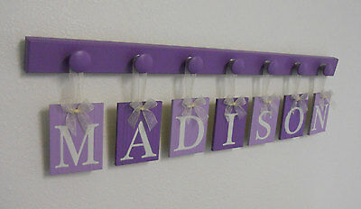 Purple Baby Girl Nursery Decor Wall Sign Gift Set Hanging Letter Name Plaques