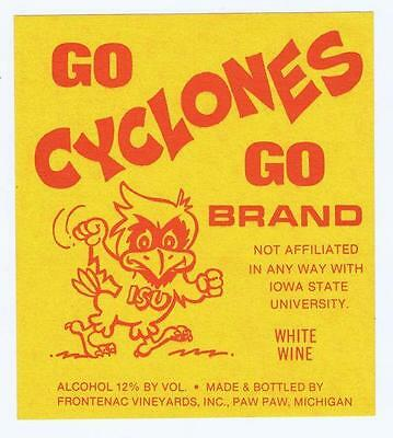 Go Cyclones Iowa State mascot, Frontenac vineyard Michigan vintage wine label