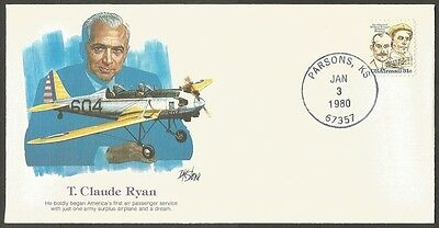 Us 1980 The Pioneers Of Flight Cover #27- T Claude Ryan   31C Air Mail Stamp