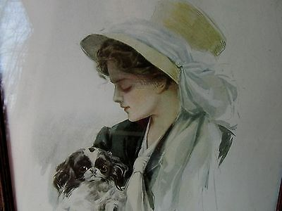 """Antique Harrison Fisher Lady Print with Japanese Chin Dog 1909 Title """"Beauties"""""""