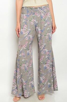Women Palazzo Pants Trousers Dressy Gray Floral Wide Leg Relaxed Comfy Casual