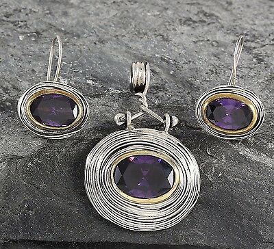 Amethyst Stone 925 Sterling Silver Ladies Handmade Fine Jewelry Set 0.96 Ounce