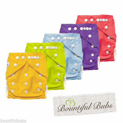 5 x Bamboo Cloth Nappies with 4 layer Bamboo Booster Insert