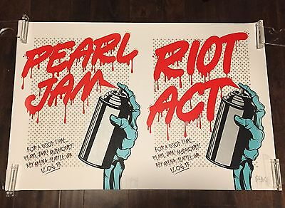 Pearl Jam Riot Act Poster 12/6 2013 Seattle D*Face RARE Uncut Double Variant