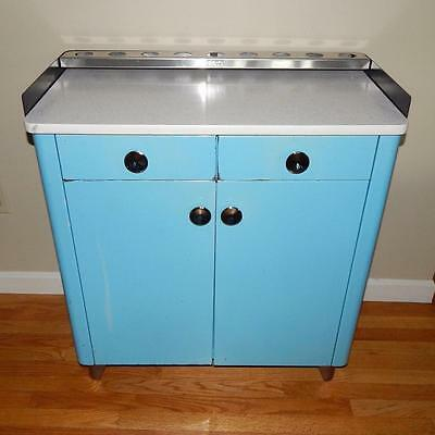Vintage Mid Century Baby Blue Atlas Metal Medical Cabinet with Formica Top
