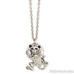 New Silver & Rhinestone Kitty Cat Kitten Hang in There Pendant Necklace