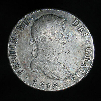1818 PTS PJ Bolivia 8 Reales silver coin KM# 84 Spanish Colonial Potosi Mint