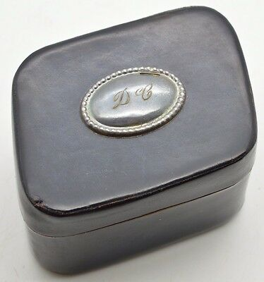 Vintage Pineider Italian Leather and Sterling Silver Trinket Jewelry Box Italy