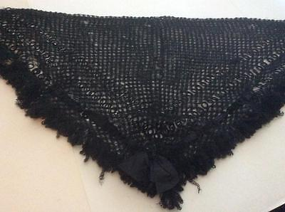 Antique Vintage Black Fine Hand Knitted Lace Shawl, Silk?