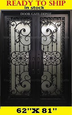 IRON DOORS WROUGHT IRON ENTRY DOORS DARK BRONZE  62''x 81'' DGD1201