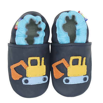 carozoo excavator dark blue soft sole leather slippers up to 8 years old