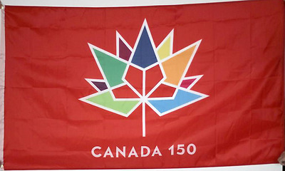 Huge 3' x 5' High Quality Red Canada 150, 1867 - 2017 Flag - Free Shipping