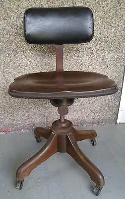 Antique Taylor Wood Leather Swivel Chair Industrial mid-century modern Office