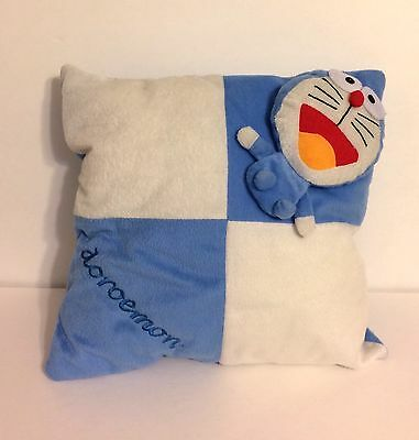 Doraemon, Blue And White Square Pillow With Plush Attached, 14 X 14 Inches