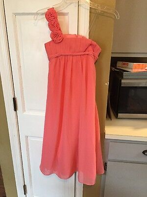 Girls Size 8 Easter Spring Flower Girl Junior Bridesmaid Dress Salmon Coral