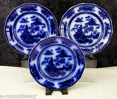 "(3) Antique Challinor Pelew Flow Blue Ironstone China 8 5/8"" Salad Plates"
