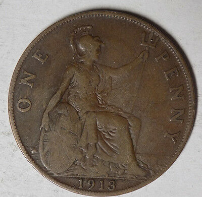 Great Britain 1913 1 Penny Coin