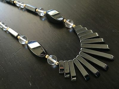Fine Old Chinese Hematite Rock Crystal Carved Beaded Runway Necklace Art NR