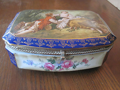 Vintage RS Prussia Porcelain Vanity Jewelry Trinket Box Reproduction F. Boucher