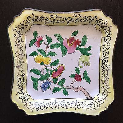 Fine Old Antique Chinese Enameled Plate Hand Painted Flowers Green Scholar Art