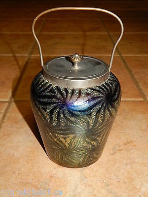 Antique  Loetz  Art Nouveau Amethyst, Cobalt  Blue Iridescent Glass  Biscuit Jar