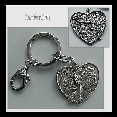 Keyring #428 Pewter ANGEL HEART (40mm) Keychain Key Chain PROTECTED BY ANGELS