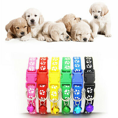 Adjustable Lovely Small Footprint With Bell Nylon Fabric Pet Cat Dog Collar