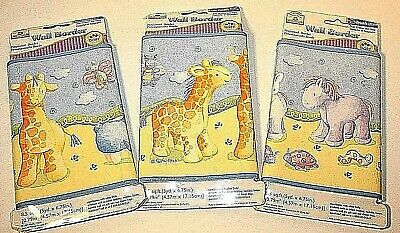 Lot of 3 Cuddly Noah Animal Nursery Wall Border Sealed & New 5 Yd x 6.75 In