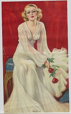Vintage 1930s-40s Alluring Blonde woman in white dress titled: Beautiful Lady