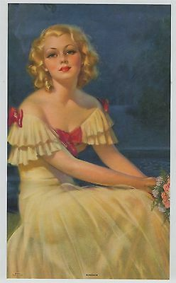 Vintage 1930s-40s  Dreamy Blonde woman in Blue Moonlight Print titled: Romance