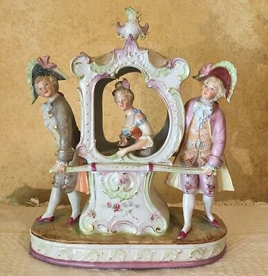 Antique Large Bisque 18Th Century Lady Gentlemen Germany Dresden Figurine