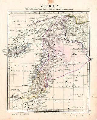 Ancient Period Map of Syria by Aaron Arrowsmith. Hand Colored. 1841.