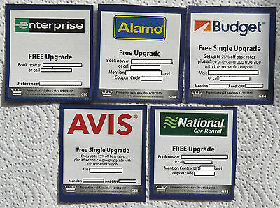 ENTERPRISE~ALAMO~BUDGET~AVIS~NATIONAL~Rental Car Upgrade *Pick 1 Coupon*