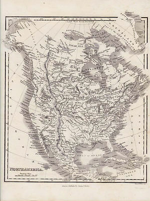 Original Antique Map of North America. Engraved by Illman and Pilbrow. 1846.