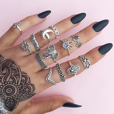 13pcs/set Mid Midi Above Knuckle Ring Band Gold Silver Tip Finger Stacking Hot