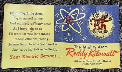 Reddy Kilowatt Pins w/card The Mighty Atom Vintage 1955 Rare Collectible Antique