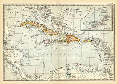 Map of the West Indies in the Caribbean. Including The Bermudas. Century Atla...
