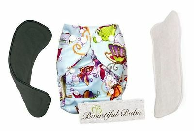 Deluxe Bamboo Cloth Nappy,  with 2 Boosters-4 & 6 layers.Butterflies