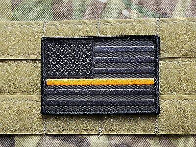 US Flag Thin Orange Line Morale Patch Black Grey SEARCH AND RESCUE
