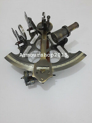 Marine style antique look vintage brass ship level finder nautical sextant