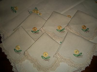 Vintage Linen White Tablecloth Embroidered Flowers + 6 Matching Napkins