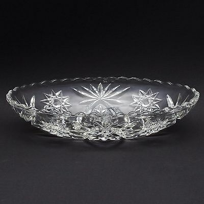 "Anchor Hocking Prescut Hobstar Clear Oval 9"" Heavy Pressed Glass Serving Dish"
