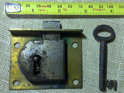 Georgian brass and steel drawer lock and key, antique