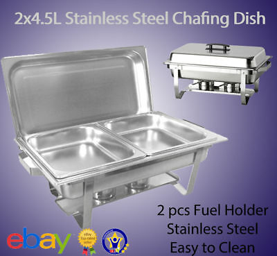 NEW 2 x 4.5L CHAFING DISH BUFFET STAINLESS STEEL BUFFET FOOD WARMER SET E0