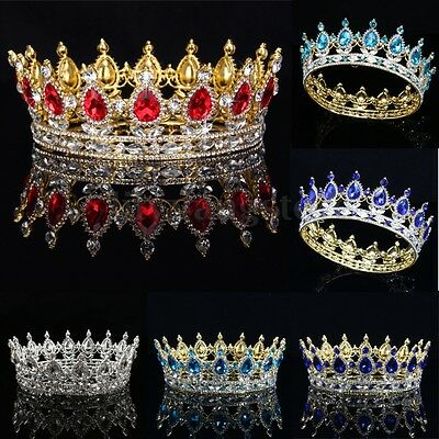 Baroque Crystal Queen Crown Tiara Stuff Teardrop Rhinestone Full Gold Plating