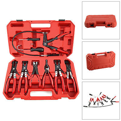 Hose Clamp Clip Plier Set Swivel Jaw Flat Angled Band Automotive Pliers Tool Kit