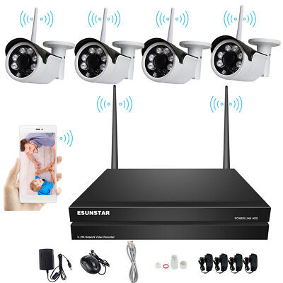AU 4CH Wireless NVR Kit  HD 720P CCTV WiFi IP Camera Outdoor Plug and Play