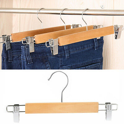 Wooden Skirt/pants Hangers with Swivel Hook Strong Durable Silver Wardrobe Clips